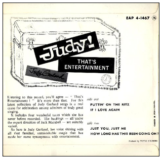 Judy Garland That's Entertainment 45 EP back cover