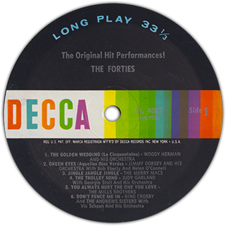 "Decca Records' ""Into The Forties"" label"