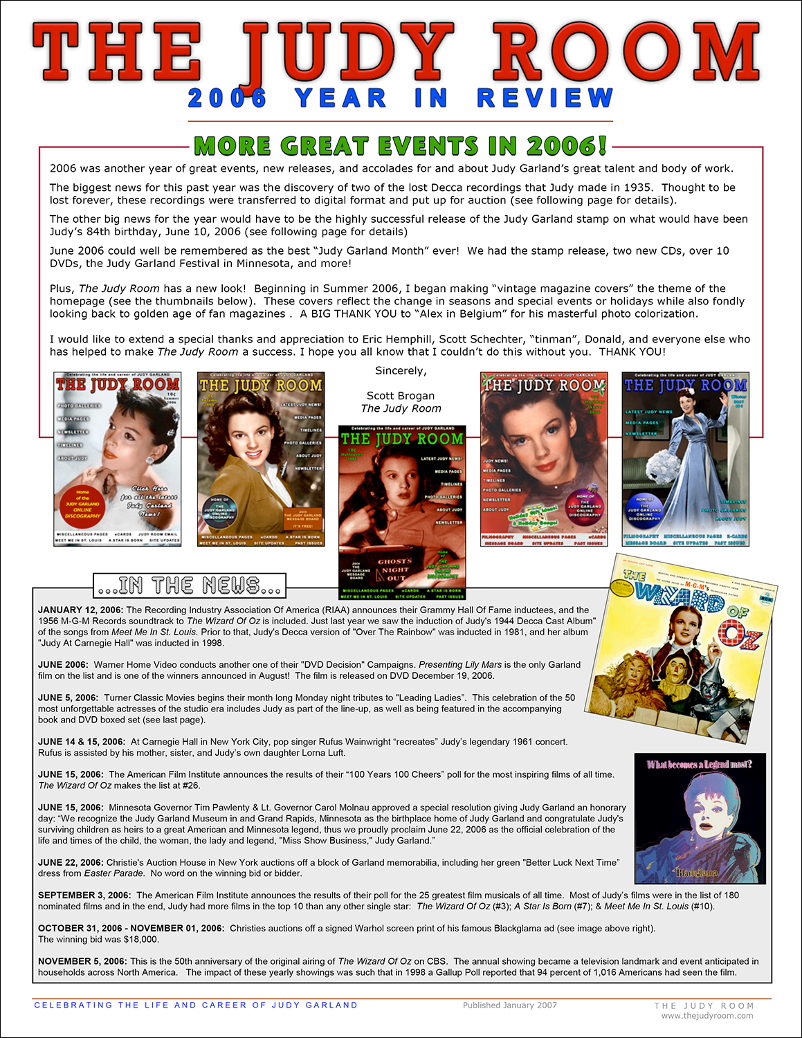 The Judy Room's 2006 Year in Review