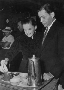 "Judy Garland and Oscar Levant on the set of ""The Barkleys of Broadway"""