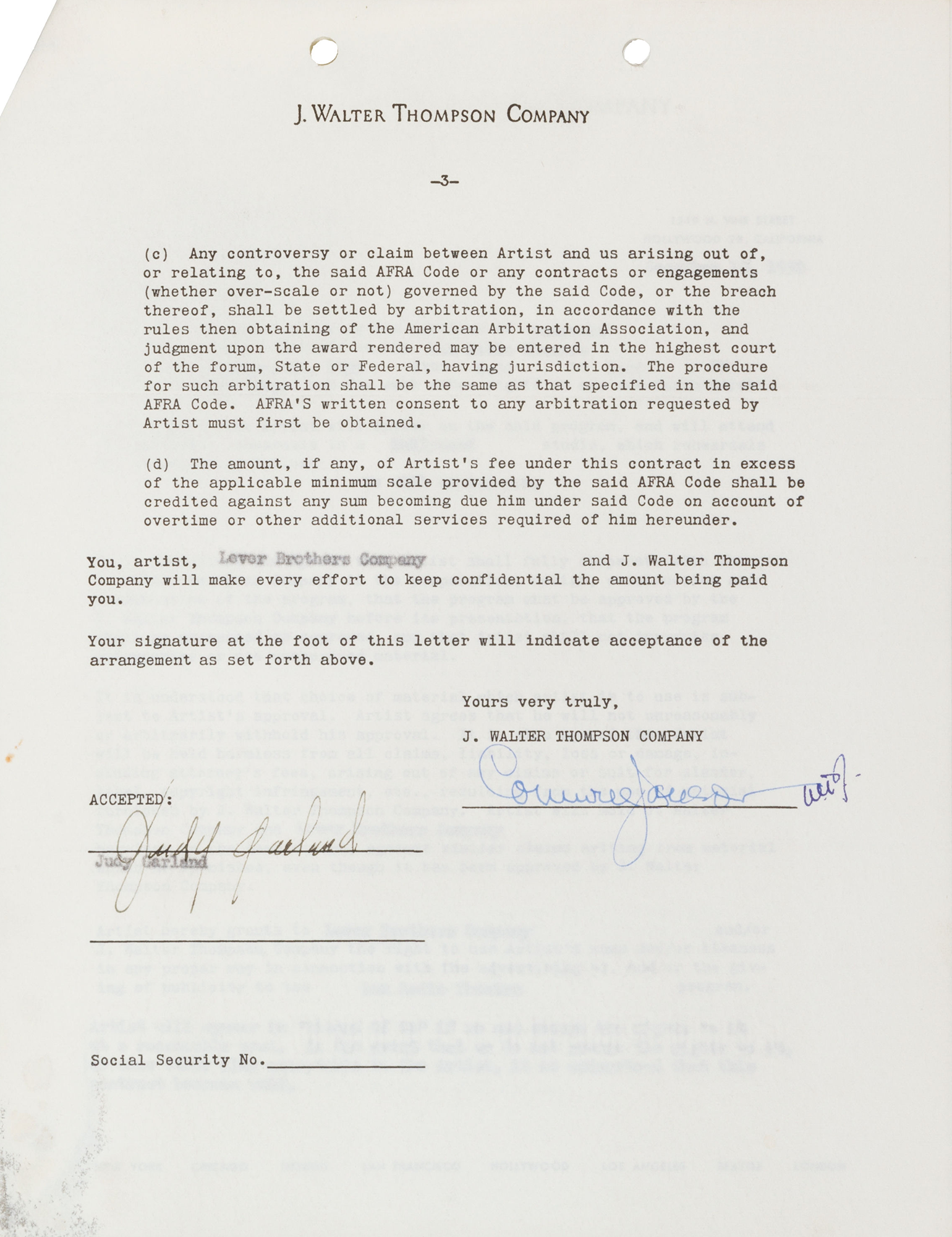 Contract for Judy Garland in The Wizard of Oz on Radio