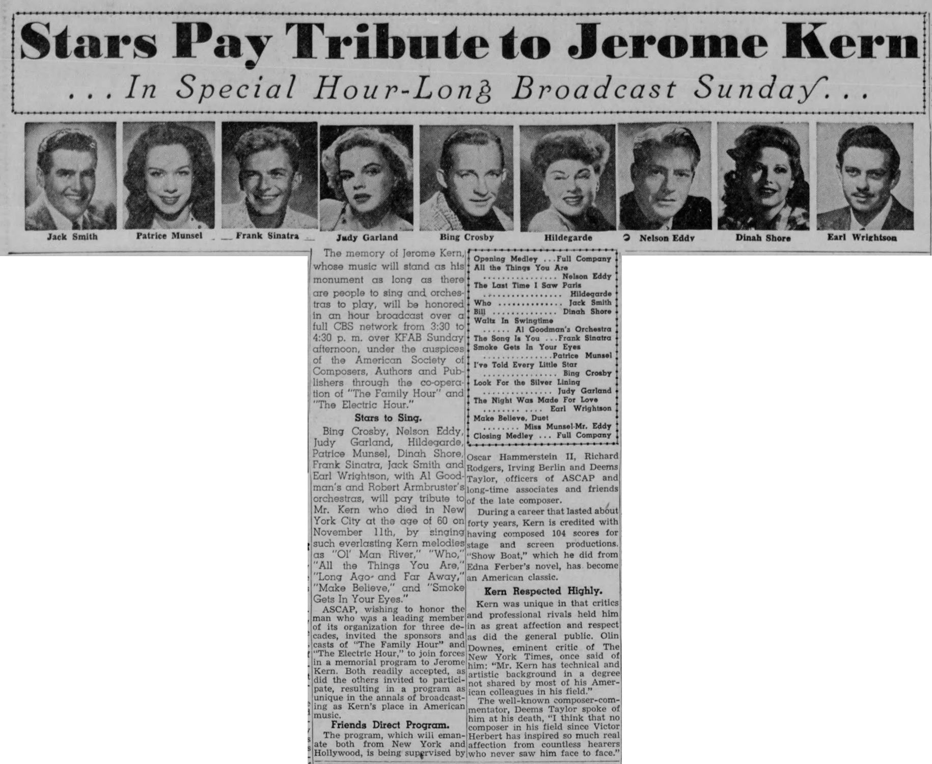 Judy Garland Jerome Kern Tribute