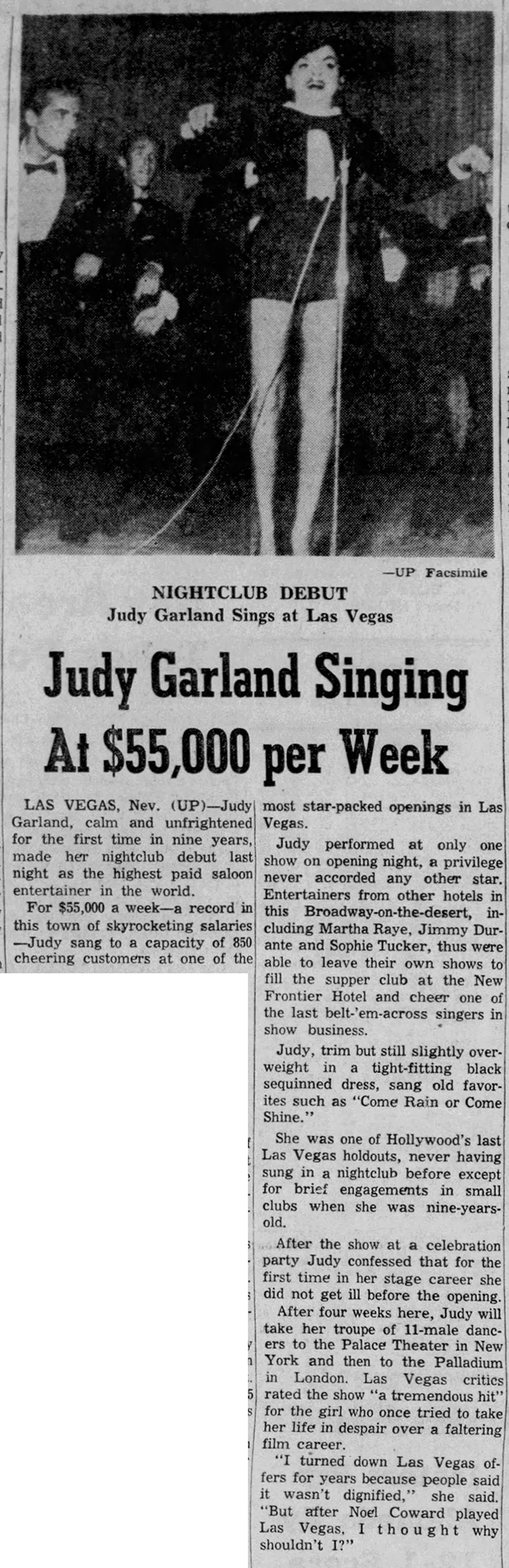Judy Garland at the Frontier in Las Vegas 1956