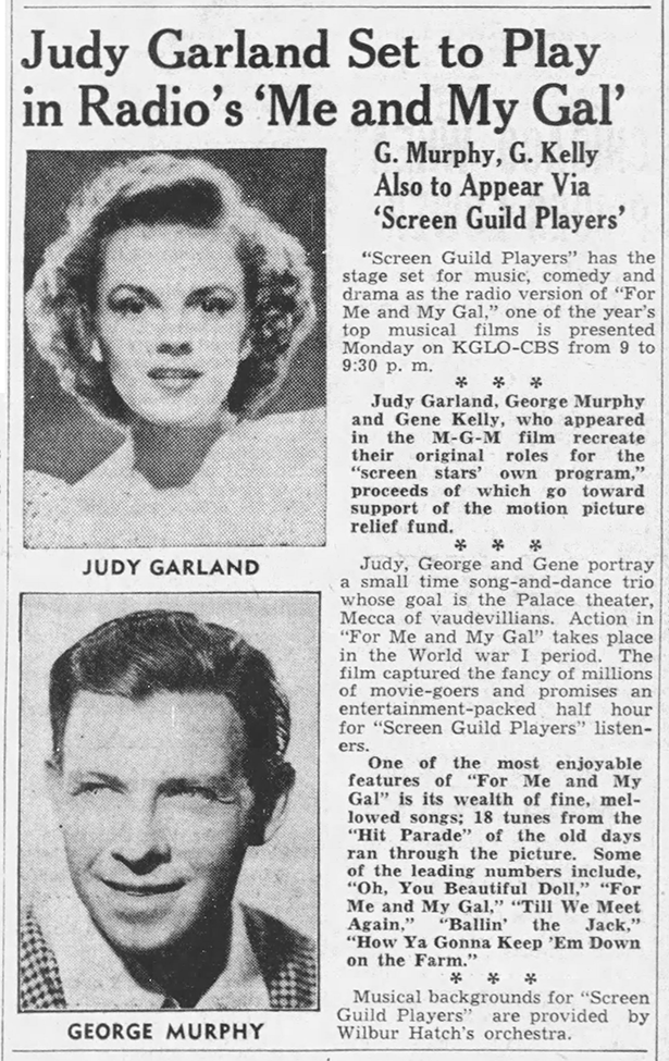 "Judy Garland in ""For Me And My Gal"" on the radio"