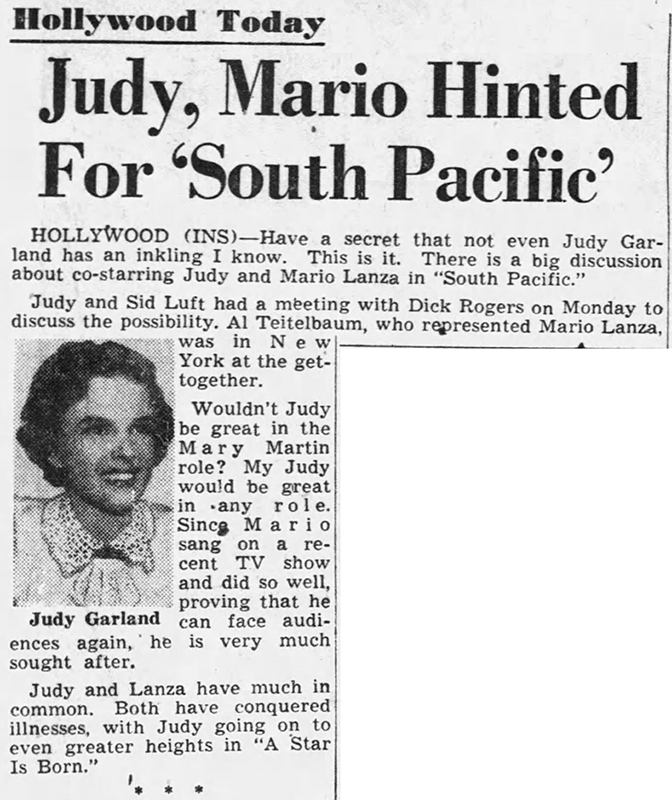 "Judy Garland in ""South Pacific"""
