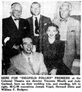 "Judy Garland and Vincente Minnelli in Boston for the premiere of ""Ziegfeld Follies"""