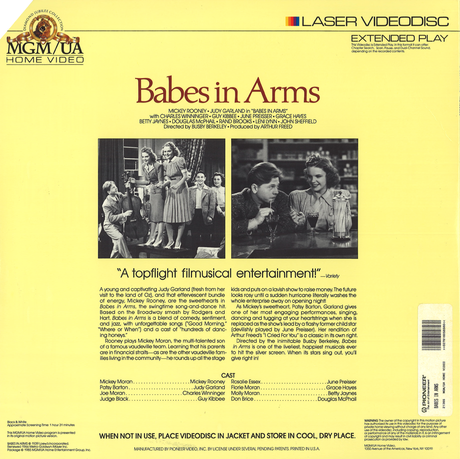 Babes in Arms laserdisc