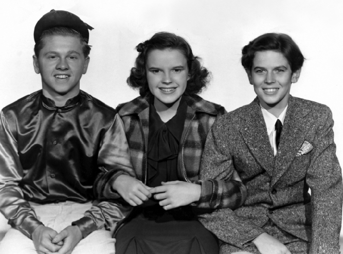 "Mickey Rooney, Judy Garland, Ronald Sinclair in ""Thoroughbreds Don't Cry"""