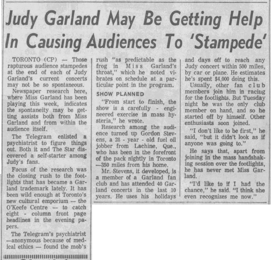 Judy Garland at the O'Keffe Center December 5, 1961