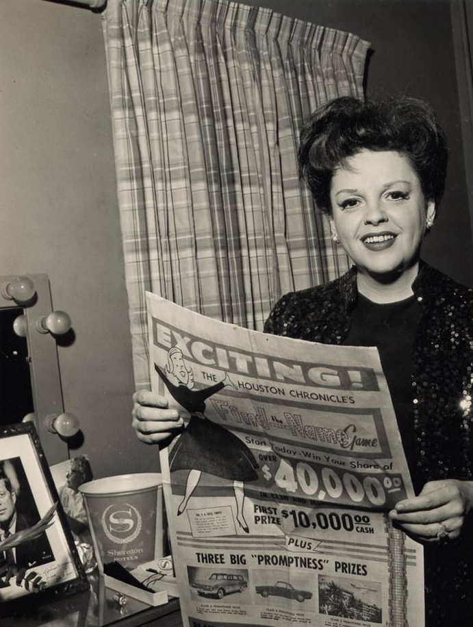 Judy Garland at the Sheraton Hotel in Houston, Texas may 10, 1961