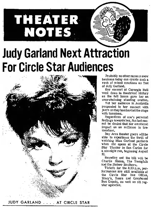 Judy Garland at the Circle Star Theater 1965