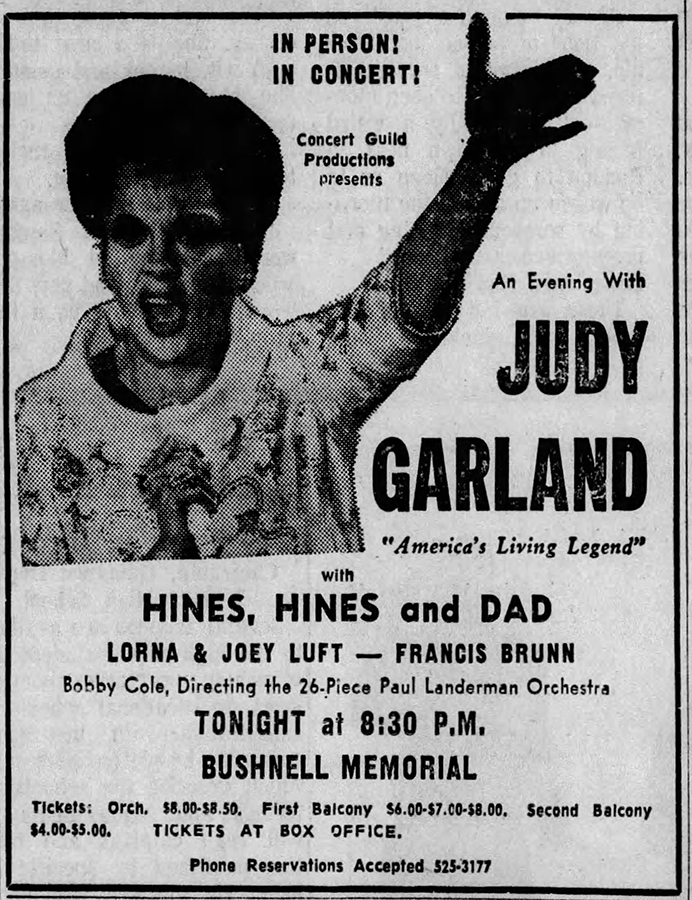 Judy Garland at Bushnell Auditorium 1967