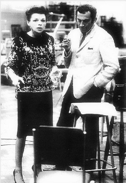 "Judy Garland and Lionel Bart during the recording of songs from ""Maggie May"""
