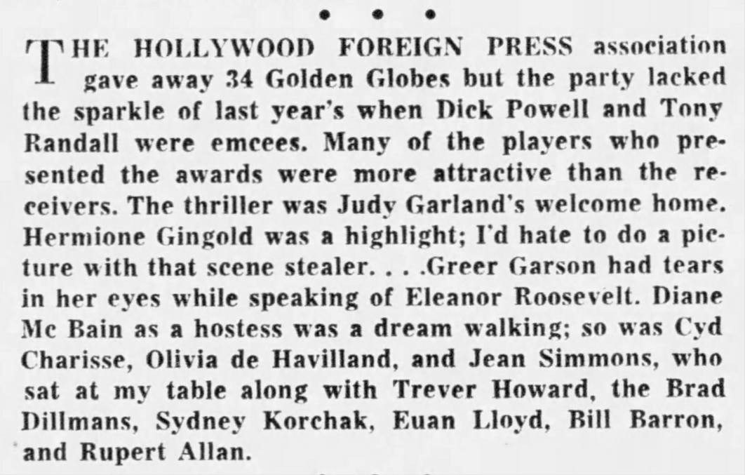 Judy Garland at the Golden Globe Awards 1961